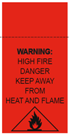 High fire hazard label featuring flame graphic and text warning