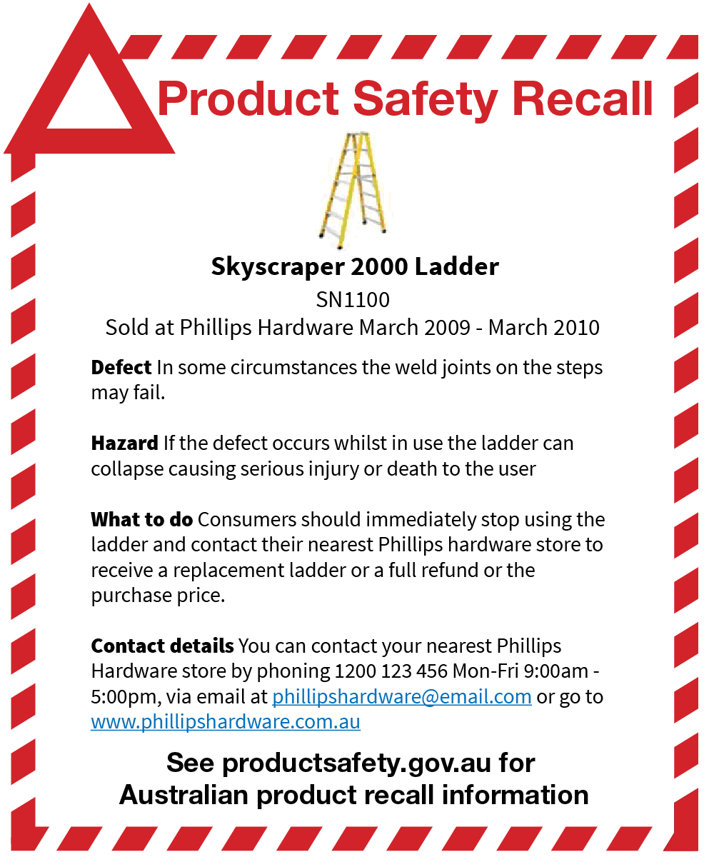 Recall Advertisement Templates Product Safety Australia